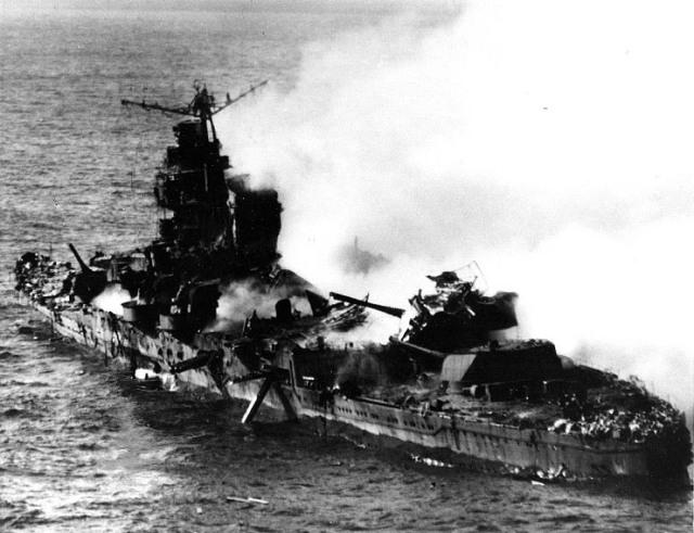 Jap cruiser Mikuma sinking 6 June 1942